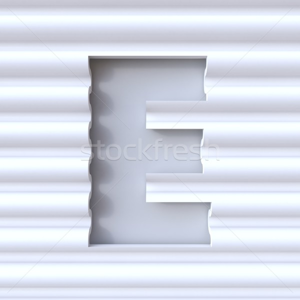 Cut out font in wave surface LETTER E 3D Stock photo © djmilic