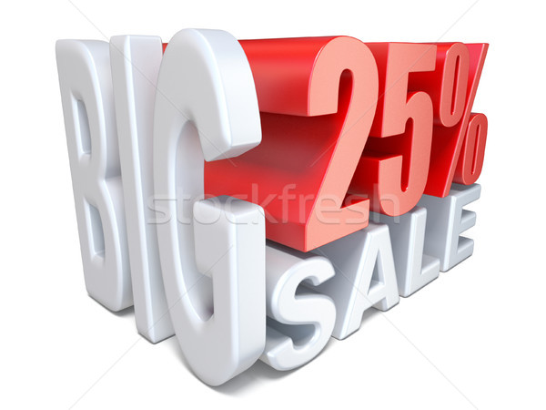 White red big sale sign PERCENT 25 3D Stock photo © djmilic