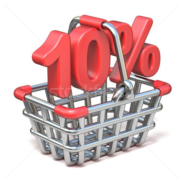 Metal shopping basket 10 PERCENT sign 3D Stock photo © djmilic