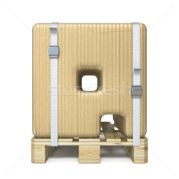 Cardboard box font Letter Q on wooden pallet 3D Stock photo © djmilic