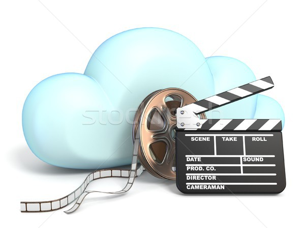 Cloud icoon film tape 3D geïsoleerd Stockfoto © djmilic