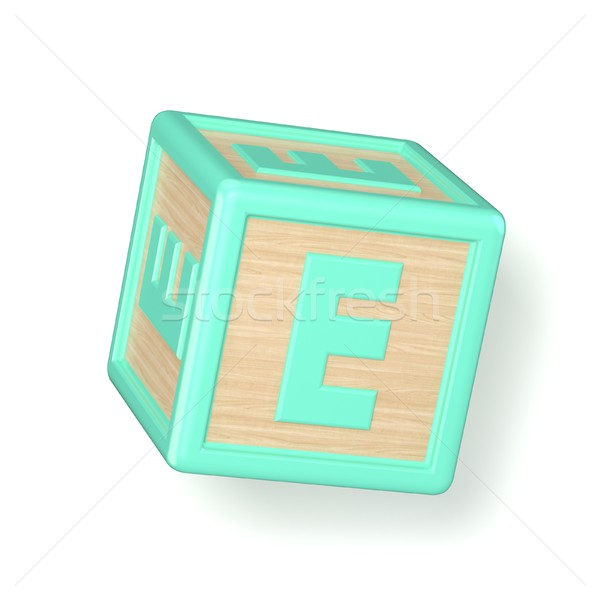 Stock photo: Letter E wooden alphabet blocks font rotated. 3D