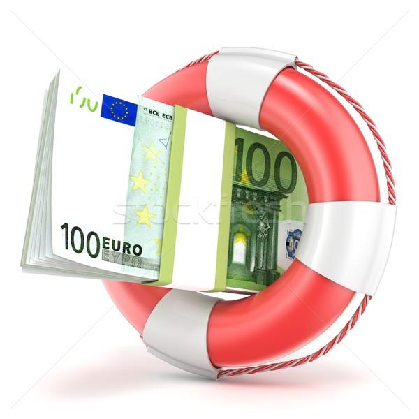 Спасательный круг евро банкнота 3D 3d визуализации иллюстрация Сток-фото © djmilic