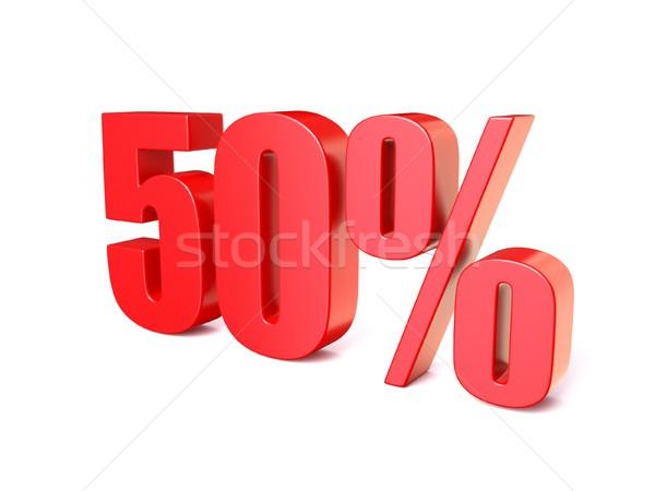 Rouge pourcentage signe 50 3D rendu 3d Photo stock © djmilic