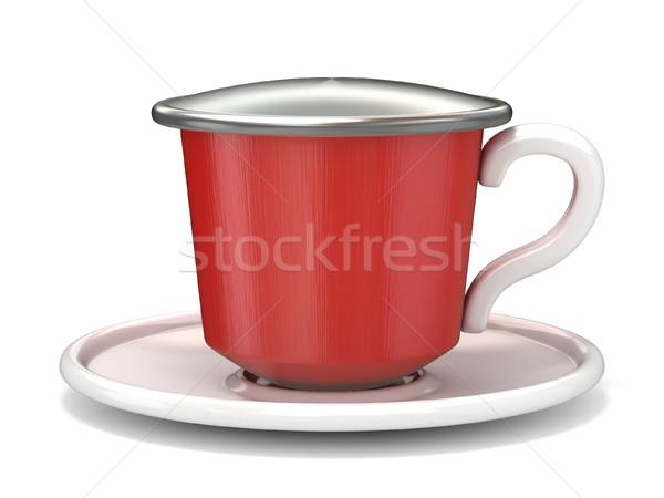 Stok fotoğraf: Kırmızı · kahve · kapsül · 3D · 3d · render · örnek