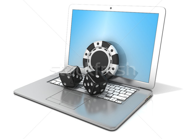 Laptop with black dice and chip. 3D Stock photo © djmilic