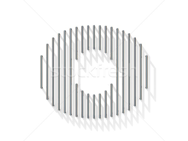 Silver, steel wire font. Number ZERO 0 Stock photo © djmilic