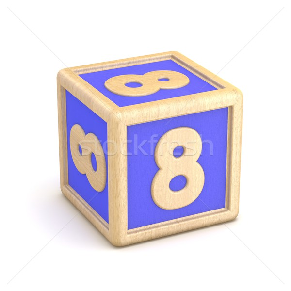 Number 8 EIGHT wooden alphabet blocks font rotated. 3D Stock photo © djmilic