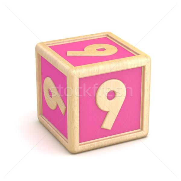 Aantal negen houten alfabet blokken doopvont Stockfoto © djmilic
