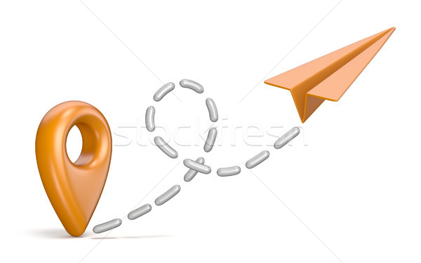 Orange map pointer and paper airplane. Traveling concept 3D Stock photo © djmilic