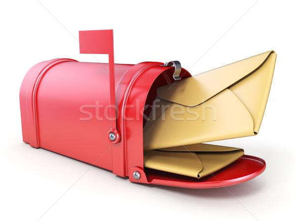 Red mailbox and two yellow envelope 3D Stock photo © djmilic