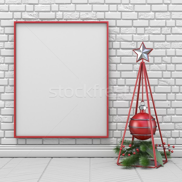 Mock up blank picture frame, Christmas decoration wireframe pyra Stock photo © djmilic
