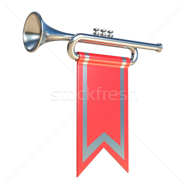Fanfare silver trumpet and red flag 3D Stock photo © djmilic