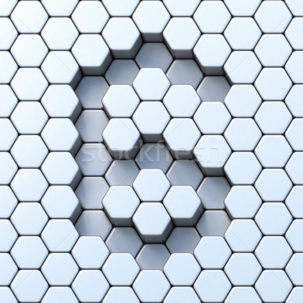 Hexagonal grid number SIX 6 3D Stock photo © djmilic