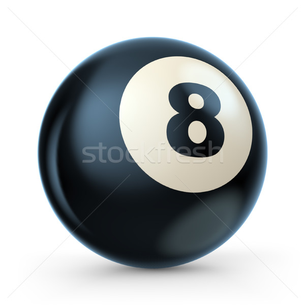 Black pool game ball with number 8. 3D Stock photo © djmilic