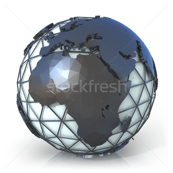 Polygonal style illustration of earth globe, Europe and Africa v Stock photo © djmilic