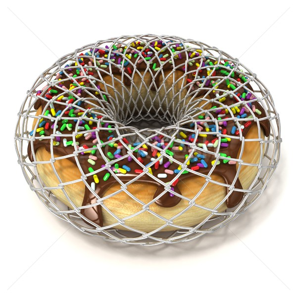 Chocolate donut with sprinkles in wire fence, as symbol of diet Stock photo © djmilic