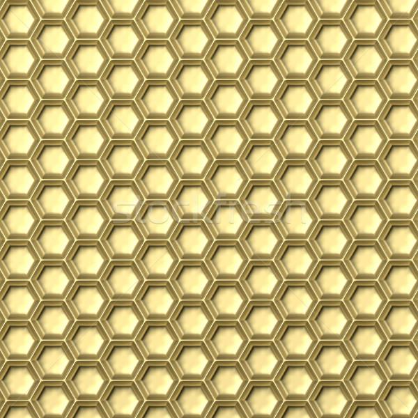Gouden honingraat abstract 3D 3d illustration geïsoleerd Stockfoto © djmilic