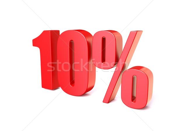 Rouge pourcentage signe 10 3D rendu 3d Photo stock © djmilic