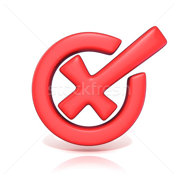 Red incorrect check mark in circle. 3D Stock photo © djmilic