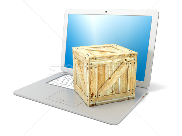 Laptop with wooden box package. Concept of online ordering of pr Stock photo © djmilic
