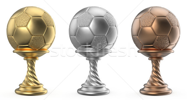 Gold, silver and bronze trophy cup SOCCER FOOTBALL 3D Stock photo © djmilic
