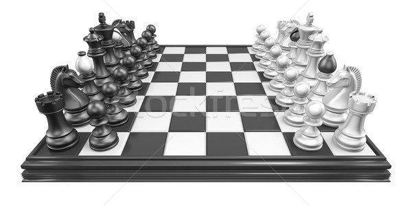 Sakktábla összes sakkfigurák 3D 3d render illusztráció Stock fotó © djmilic