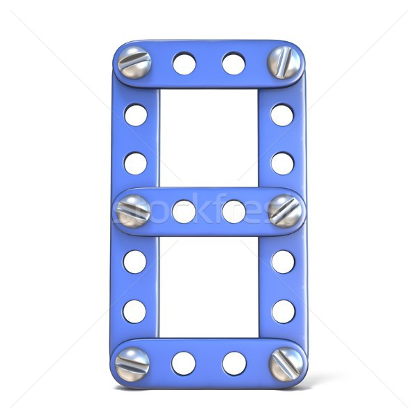 Blauw metaal speelgoed aantal acht 3D Stockfoto © djmilic