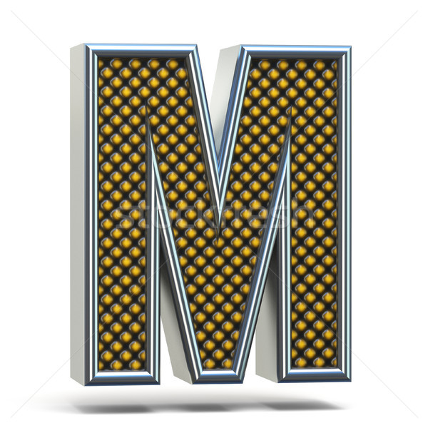 Chrome metal orange dotted font Letter M 3D Stock photo © djmilic