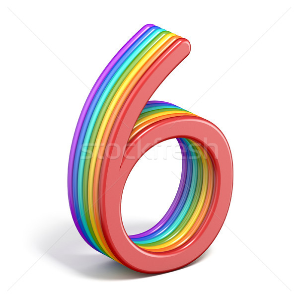 Rainbow font number 6 SIX 3D Stock photo © djmilic
