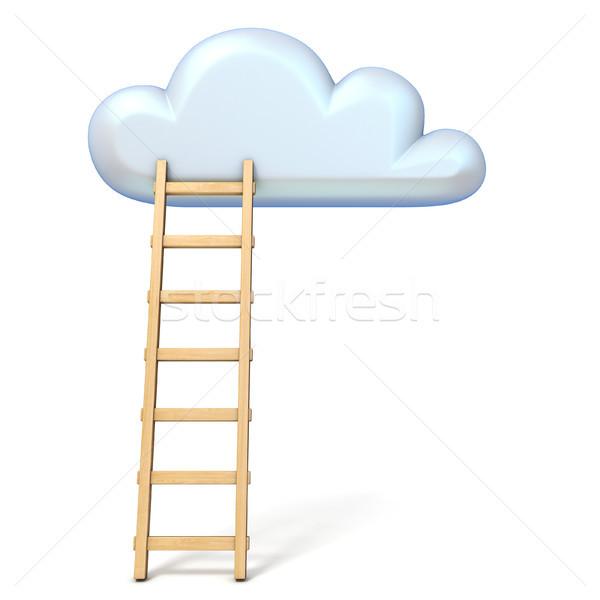 Cloud shape and ladder 3D rendering illustration on white backgr Stock photo © djmilic