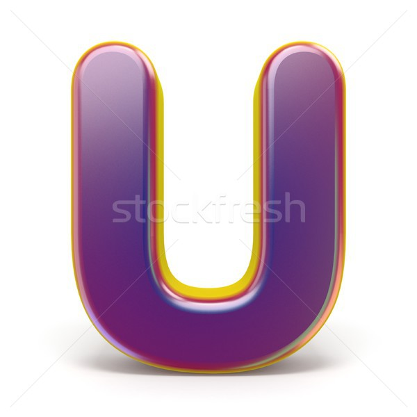 Letter U purple font yellow outlined 3D Stock photo © djmilic