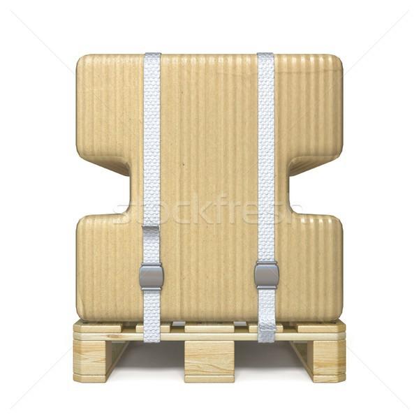 Cardboard box font Letter I on wooden pallet 3D Stock photo © djmilic