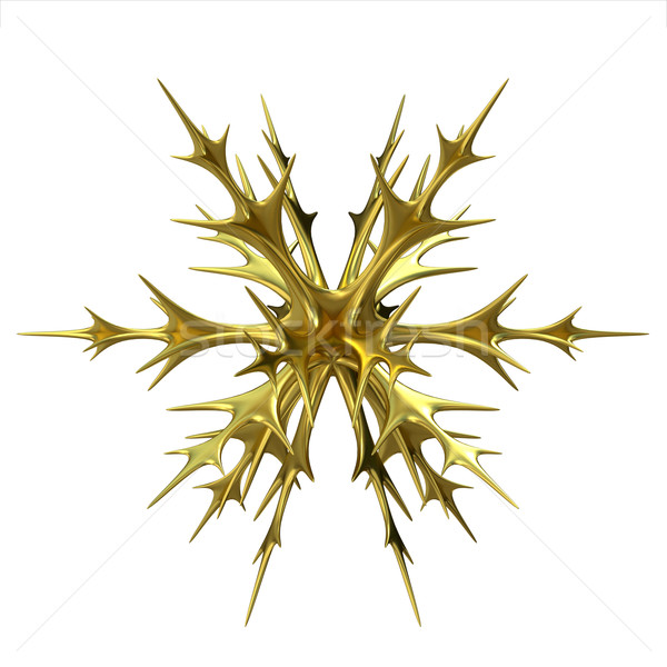Gold Christmas snowflake ornament. 3D Stock photo © djmilic