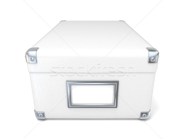 White leather closed box, with chrome corners and blank label. F Stock photo © djmilic