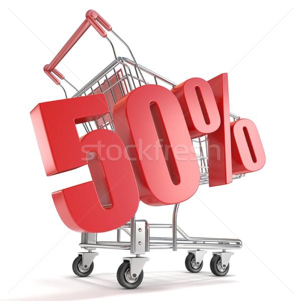 50 cinquante pour cent réduction panier vente Photo stock © djmilic