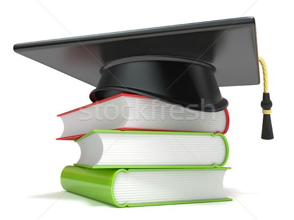 Stockfoto: Afstuderen · cap · boeken · 3D · 3d · render · illustratie