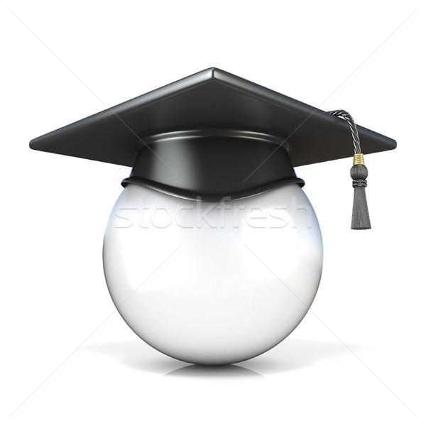White ball with graduation cap, front view. Conceptual illustrat Stock photo © djmilic