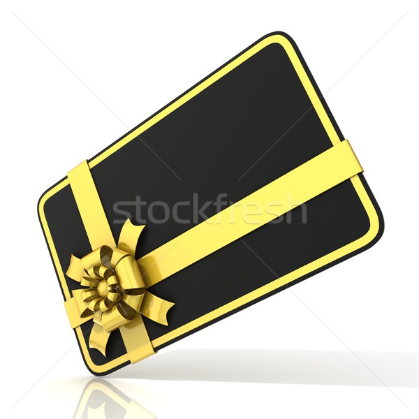 Noir carte-cadeau or ruban 3D rendu 3d Photo stock © djmilic