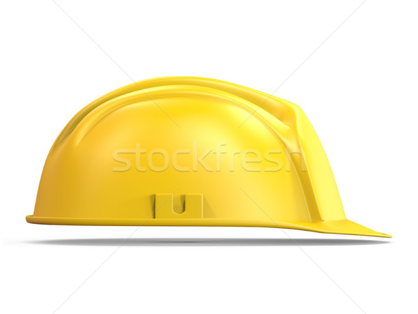 Stock photo: Yellow safety helmet side view 3D