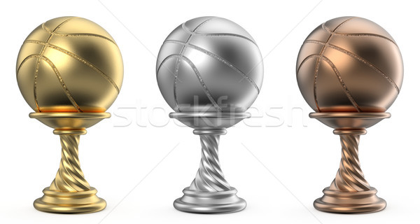 Gold, silver and bronze trophy cup BASKETBALL 3D Stock photo © djmilic