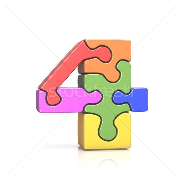 Puzzle jigsaw number FOUR 4 3D Stock photo © djmilic