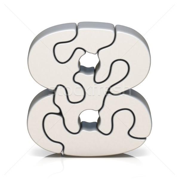 Beyaz bilmece numara sekiz 3D Stok fotoğraf © djmilic