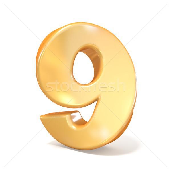 Arancione carattere numero nove 3D rendering 3d Foto d'archivio © djmilic