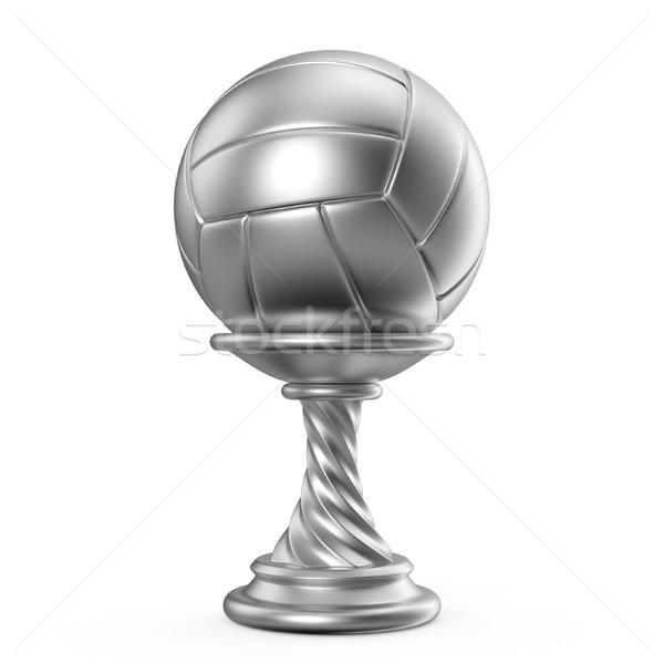 Ezüst trófea csésze röplabda 3D 3d render Stock fotó © djmilic