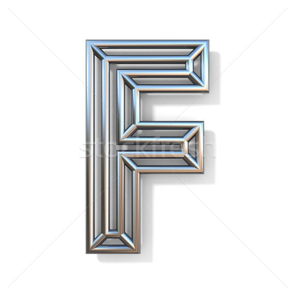 Wire outline font letter F 3D Stock photo © djmilic