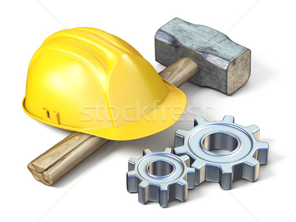 Yellow safety helmet, sledge hammer and metal gears 3D Stock photo © djmilic