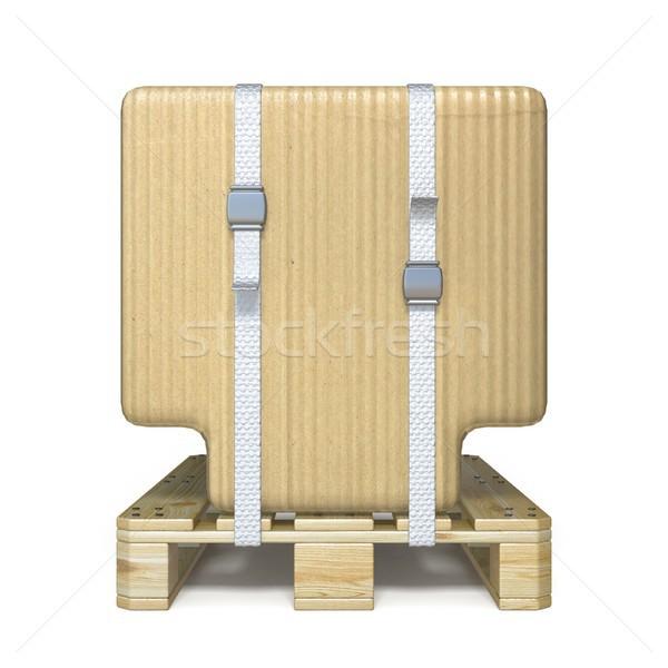 Cardboard box font Letter T on wooden pallet 3D Stock photo © djmilic