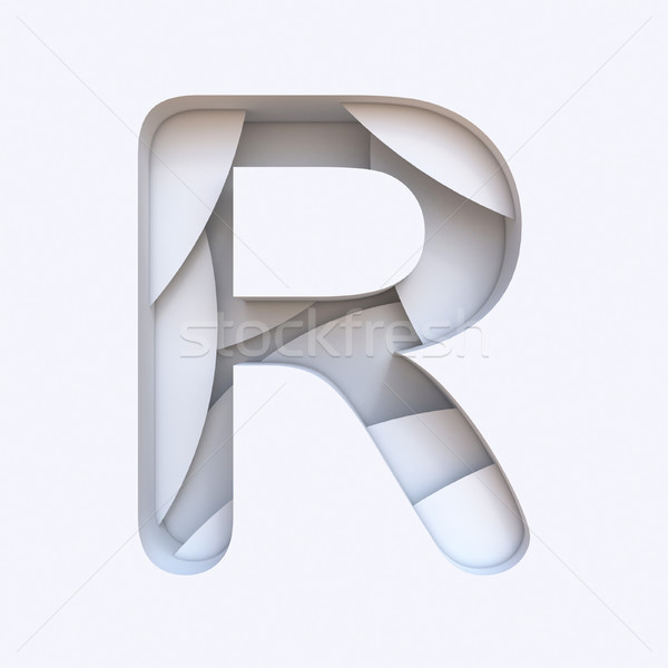 White abstract layers font Letter R 3D Stock photo © djmilic