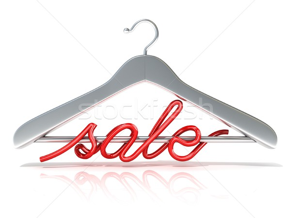 Silver clothes hangers with red sale sign, 3D Stock photo © djmilic